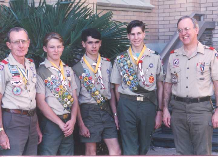 Jock Mueller - SM, Jason Spence, Danny Fuller, Dennis Vargo, C.J. (Neil) Calnan - Counselor. Award presented Feb. 1991 at Sacred Heart Co-Cathedral.